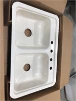 Mansfield Sink- Bone color 4 hole/double bowl