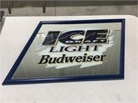 Budweiser Ice advertisement wall sign. Mirrored
