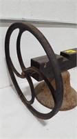 Vintage School Bell mounted on wood w/handle.
