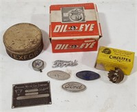 Flat of Old Auto Badges & More.  Packard VIN
