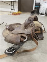 Western Saddle with Stir-ups and Belly Strap