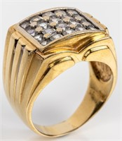 Jewelry 18kt Yellow Gold Large Men's Cocktail Ring