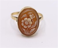 Antique 18K Italian Carved Floral Cameo Ring