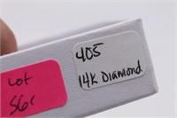 Vtg .15CT Diamond 14K Shamrock Brooch