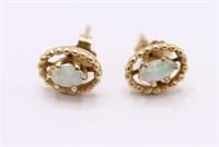 Vintage Miligrain 14K Gold & Genuine Opal Earrings