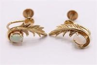 Antique 14K Opal Screwback Feather Earrings