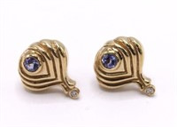 Superb 14K Diamond & Amethyst Art Deco Earrings