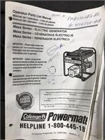Coleman Powermate Electric Generator. 5000 watts,