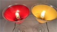 """2 Pcs Plastic Martini Glass Bar Lights 9"""" Tall 6"""""""