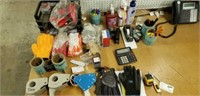 Work table - gloves, tape guns, weight scale,