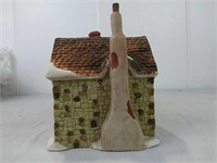Dickens Village series green brick house with