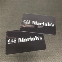MARIAH'S & 6-4-3: TWO $30 GIFT CARDS