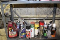 Lot of Assort. Chemicals & Storage Rack