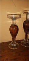 Nice set of 3 Blown Glass Candleholders
