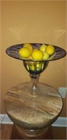 Tall Glass Footed Compote with Faux Lemons