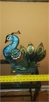 Metal Peacock on Wooden Stand