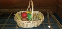 Basket with Pottery Fruit & More
