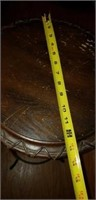 Iron base wood top plant stand