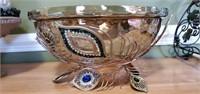 Stunning Metal & Glass Peacock Decorative Bowl