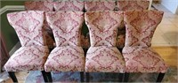 Set of 8 Maroon & Gold Upholstered Chairs