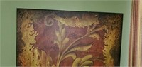 Pretty Maroon and Gold Print in Canvas