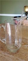 Beautiful Blown Glass Pitcher and Glass Stirrer