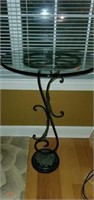 Beautiful Iron Base Glass Top Side Table