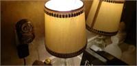 Estate lot of a lamp, decanters, decor