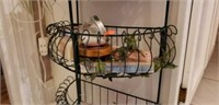 Lot of a metal wall basket, and self care items.