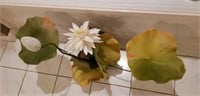 Beautiful small flower pot with faux leaves ect