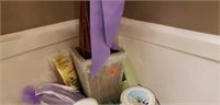 Lot of body scrub, relax sign, ect