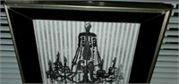 Small Silver Framed Chandelier Print