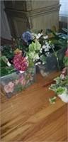 2 totes full of decorator greenery, flowers, bar