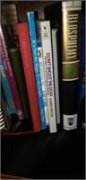 Estate shelf of binders, books, ect