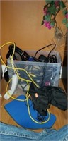 Plastic box full of wires, and electronics