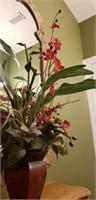 Metal plant pot with faux plants