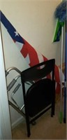 Lot of a flag, chair, crutches, ect