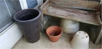 Primitive Bench & Lot of Flower Pots