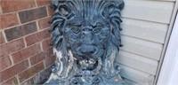 Stunning Huge Metal Wall Mount Lion Fountain
