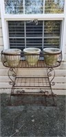 Outdoor Metal Triple Flowerstand & Pots