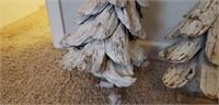Pair of heavy wood handmade Christmas trees