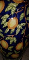 Large blue vase with lemons, as is