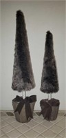 Pair of faux fur Christmas trees