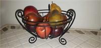 Metal fruit bowl with faux fruit