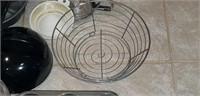 Metal strainer, muffin pan, tea pot, & more