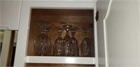 Estate Kitchen Cabinet lot Glasses & More