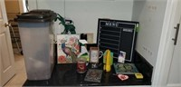 Dog food container, chalk board, flash light,