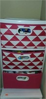 White & Pink 3 Drawer Cabinet Full of First Aid