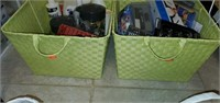 4 Decorative Baskets FULL of Household Misc