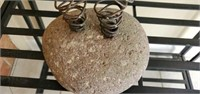 Pair of Unique Decorative Rock and Wire Art